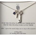 2 Keys and Iolite gem charm Necklace