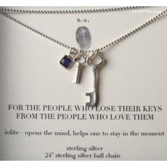 2 Keys and Iolite gem charm Necklace