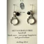 Handcuff Earrings with a Onyx charm