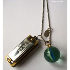 Hobo Necklace Harmonica & Marble