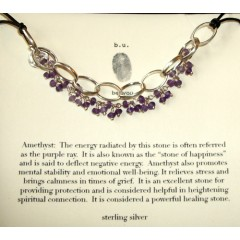 Leather, Chain link and Amethyst Necklace