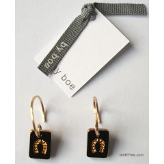 Little Luck Black & Gold Horseshoe Earrings