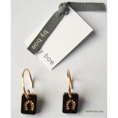 Little Luck Black & Gold Horseshoe Earrings