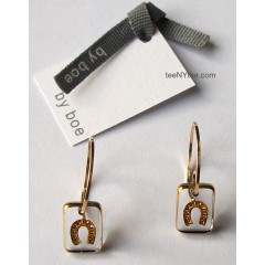Little Luck Clear & Gold Horseshoe Earrings