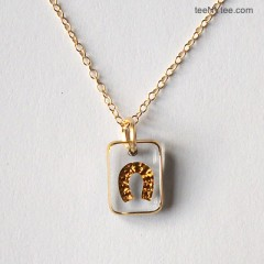 Little Luck Clear & Gold Horseshoe Necklace