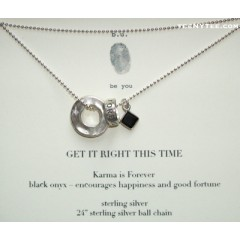3 charms Necklace / Karma, Ring and Onyx
