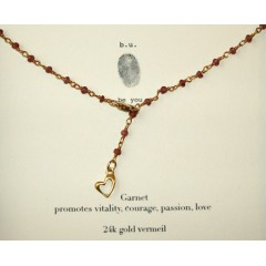 Garnet Strand Heart Charm Necklace