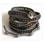 5 Wrap up Various Beads and Leather Bracelet Grey