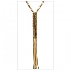 Metal Beads Flappers Fringe Y Necklace A