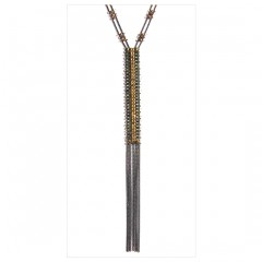 Metal Beads Flappers Fringe Y Necklace B