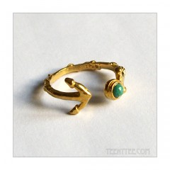 Turquoise Anchor Cuff Ring