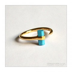 Turquoise Bar Ring Gold Fill
