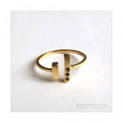 Black Garnet Chime Ring Gold Fill