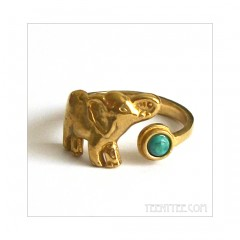 Elephant Ring Brass with Turquoise