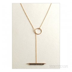 Pyrite Studded Lariat Necklace Gold Fill