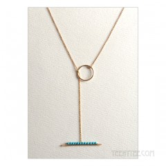 Turquoise Studded Lariat Necklace Gold Fill