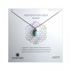 Amazonite Faceted Spear Gem Necklace Silver Boxed