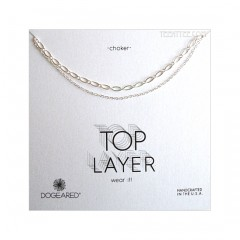 Top Layer 2 Chain Choker Sterling Silver