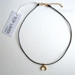 Top Layer Crescent Moon Leather Choker Gold