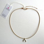 Top Layer Crescent Moon Leather Choker Sterling Silver
