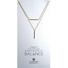 Balance Bar with Vertical Tube Double Chain Necklace Gold