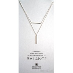 Balance Bar with Vertical Tube Double Chain Necklace S.SIlver