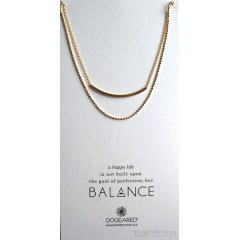 Balance Tube Double Chain Necklace Gold