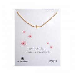 """Sideways Cross Whispers Necklace Gold 18"""""""