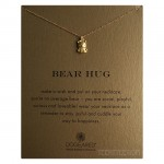 Bear Hug Necklace Cute Bear Charm Gold Boxed