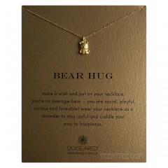 Bear Hug Necklace Cute Bear Charm Gold Boxed