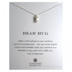 Bear Hug Necklace Cute Bear Charm Sterling Silver Boxed
