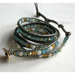 3 Wrap up Mixed Beads with Leather Bracelet / Blue Version