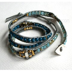 3 Wrap up Mixed Beads with Leather Bracelet / Teal Version