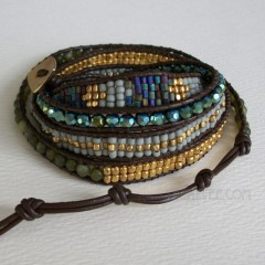 5 Wrap up Mixed beads with Leather Bracelet / Blue, Green & Purple