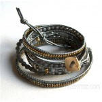 5 Wrap up Mixed Beads with Leather Bracelet / Grey & Gold