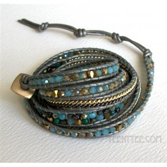 5 Wrap up Mixed Beads and Chain with Leather Bracelet / Blue & Green Version