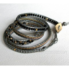 5 Wrap up Mixed Beads and Chain with Leather Bracelet / Black & Grey