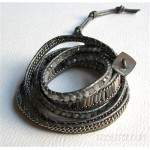 5 Wrap up Mixed Beads and Chain with Leather Bracelet / Grey & Silver