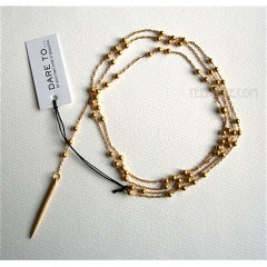 Dare to...Bead and Spear Y Necklace Gold