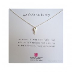 "Cute key Confidence is key necklace Sterling Silver 2"" Extender & Boxed"