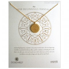 The NEW BEGINNINGS Center Star Mandala Necklace Gold Boxed