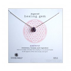 Amethyst Teardrop Gem Sterling Silver Necklace Boxed