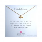 Dragonfly Charm Friends Forever Necklace Gold Boxed