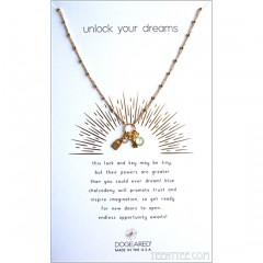 Unlock Your Dreams, Lock & Key, Blue Chalcedony Gold
