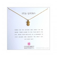 Open Pineapple Charm Stay Golden Necklace Gold Dipped Boxed