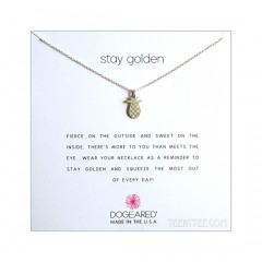 Open Pineapple Charm Stay Golden Necklace Sterling Silver Boxed