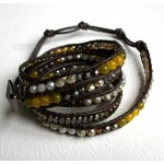 5 Wrap Up Mixed Beads inset with Leather Bracelet / Yellow