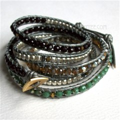 5 Wrap Up Mixed Beads Inset with Leather Bracelet / Silver Gray