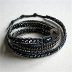 5 Wrap Up Crystal & Metal Beads Inset with Chain & Leather / Navy