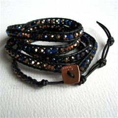 5 Wrap Up Crystal & Metal Beads With Leather Bracelet / Black